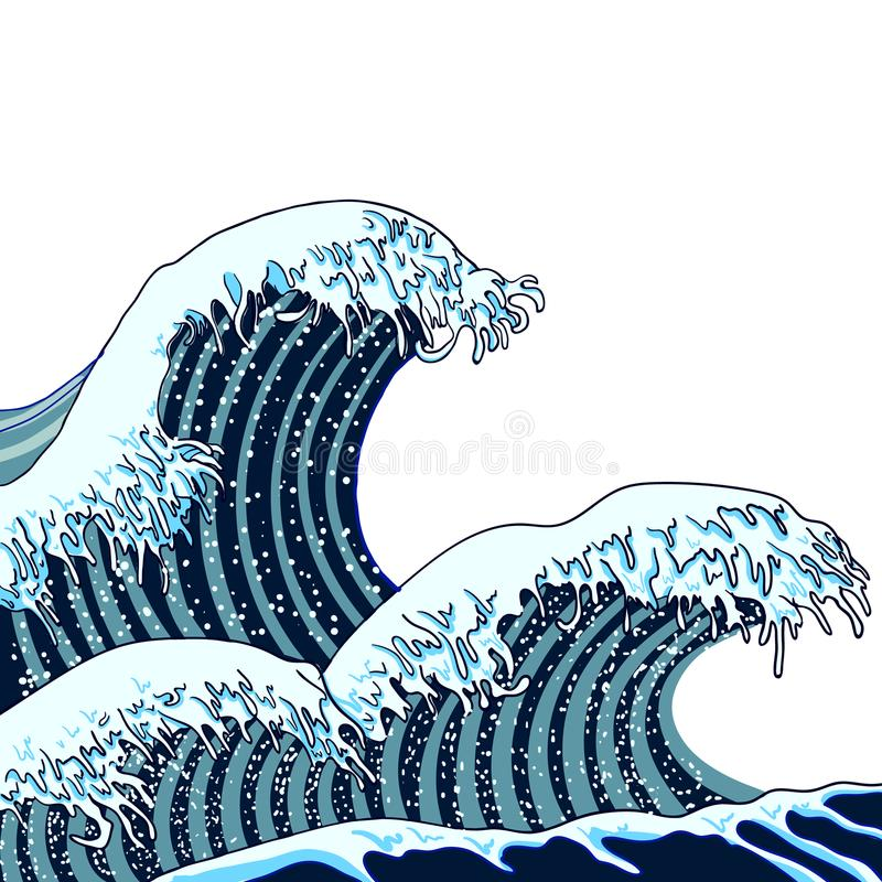 Vector Japanese Waves Illustration, Traditional Asian Art, Painting, Hand Drawn Sea. royalty free illustration