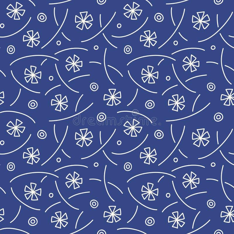 Vector Japanisch, Chinesisch blaues, nahtloses Muster vektor abbildung