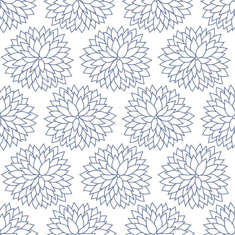 Vector Japans, Chinees blauw bloemen naadloos patroon vector illustratie