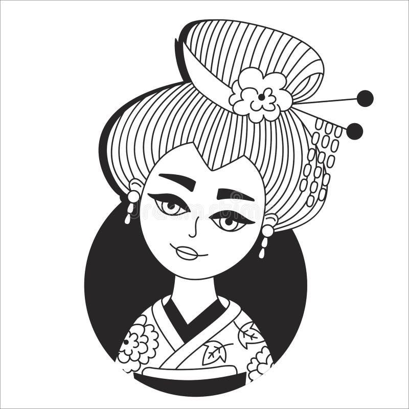 Vector japonés de la muchacha del geisha libre illustration