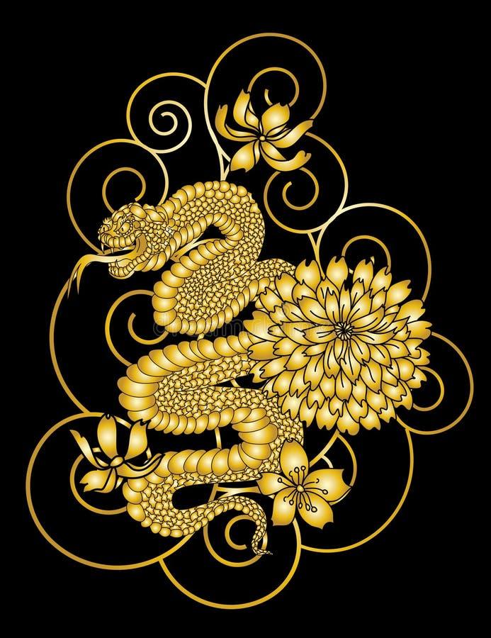Vector japonés de la serpiente y fondo del ejemplo del vector de la estación de primavera de la flor de la cereza ilustración del vector