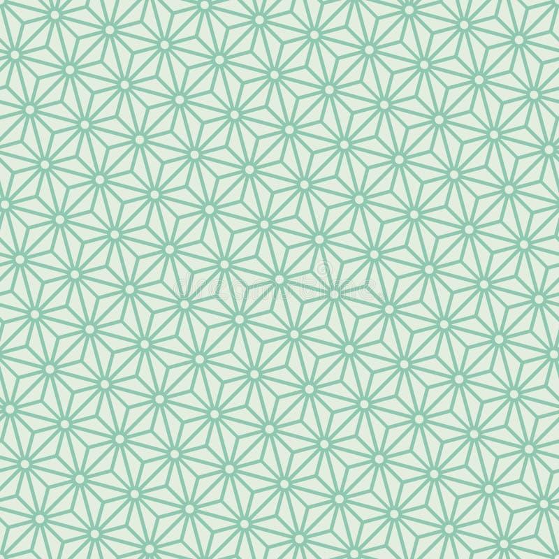 Vector japonés diagonal del modelo del asanoha de la turquesa inconsútil libre illustration