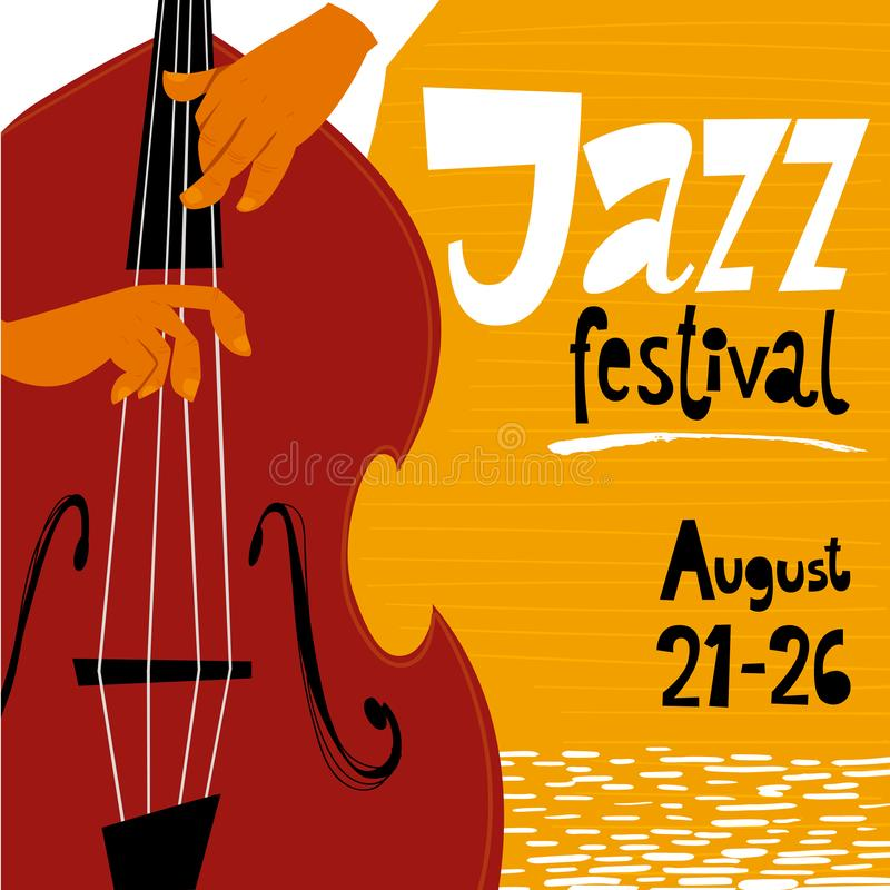 Vector jazz festival poster with double bass musicion. Jazz concert poster. stock illustration