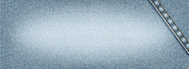 Vector Jeanshintergrund mit dem Nähen, realistische Denimstoffillustration, Fahne mit heller Denimbeschaffenheit lizenzfreie abbildung