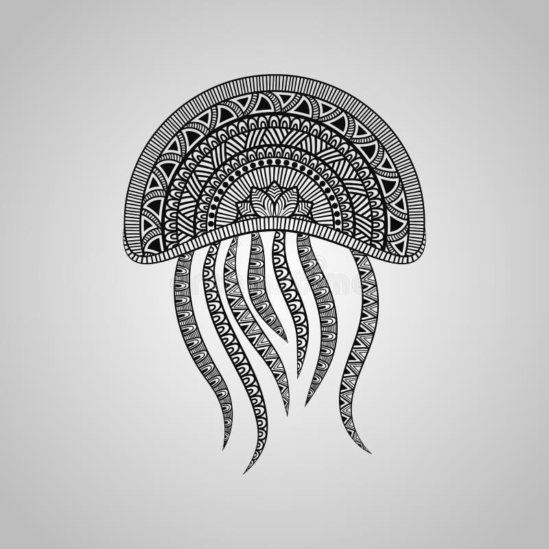 Vector Jellyfish. Tattoo style, black on gradient background vector illustration