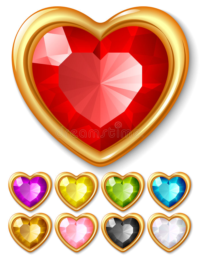 Download Vector jewel hearts stock vector. Image of bright, casino - 9352592