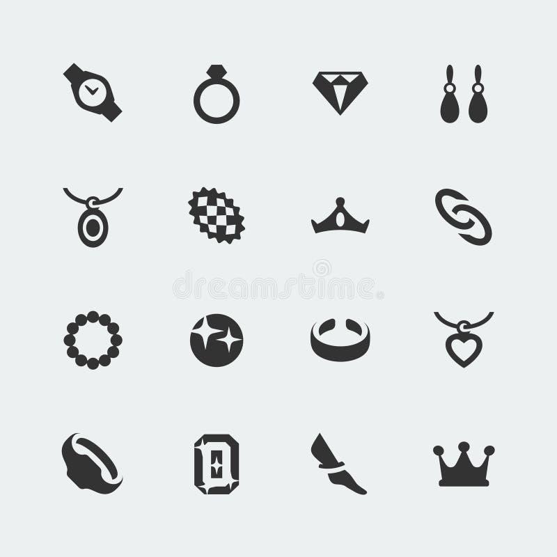 Vector jewelry icons set stock illustration