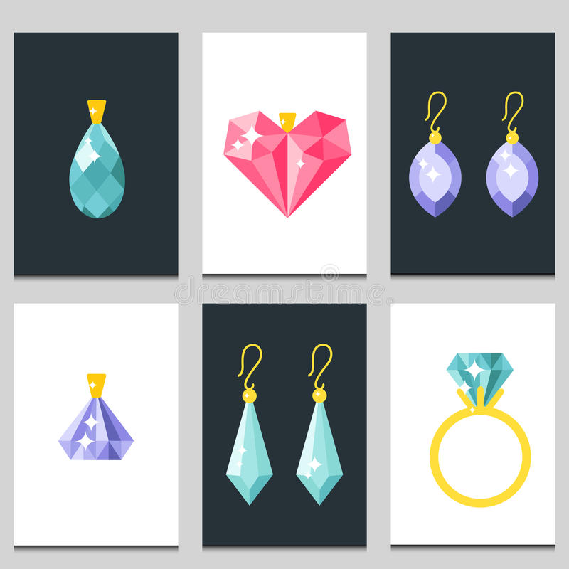 Vector jewelry items gold cards elegance gemstones precious accessories fashion illustration. Set of vector jewelry items gold cards and gemstones precious royalty free illustration