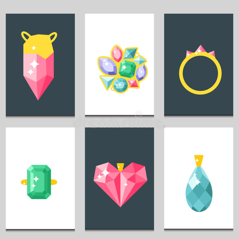 Vector jewelry items gold cards elegance gemstones precious accessories fashion illustration. Set of vector jewelry items gold cards and gemstones precious vector illustration