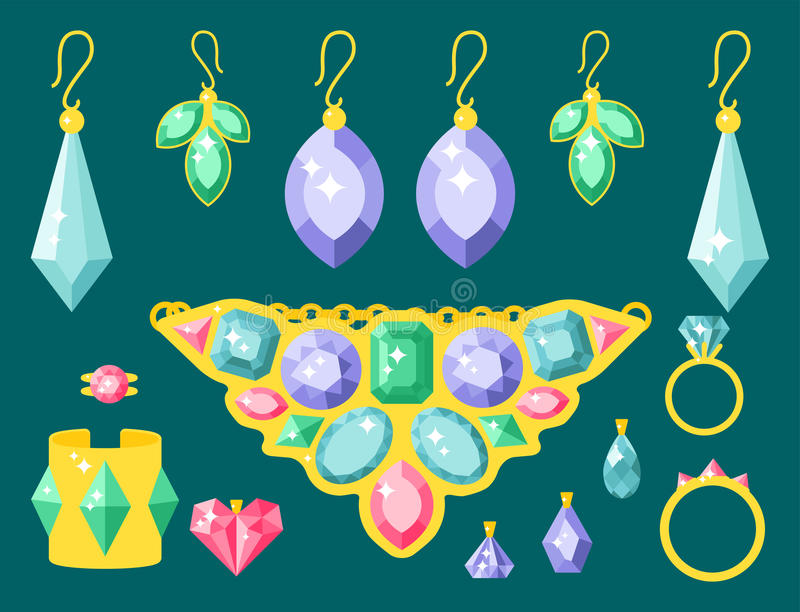 Vector jewelry items gold elegance gemstones precious accessories fashion illustration. Set of vector jewelry items gold and gemstones precious accessories stock illustration