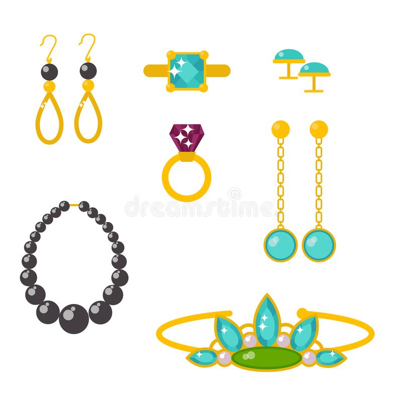 Vector jewelry items gold elegance gemstones. Set of vector jewelry items gold and gemstones precious accessories fashion items vector illustration. Beauty stock illustration
