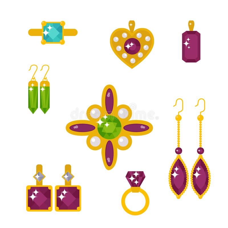 Vector jewelry items gold elegance gemstones. Set of vector jewelry items gold and gemstones precious accessories fashion items vector illustration. Beauty vector illustration