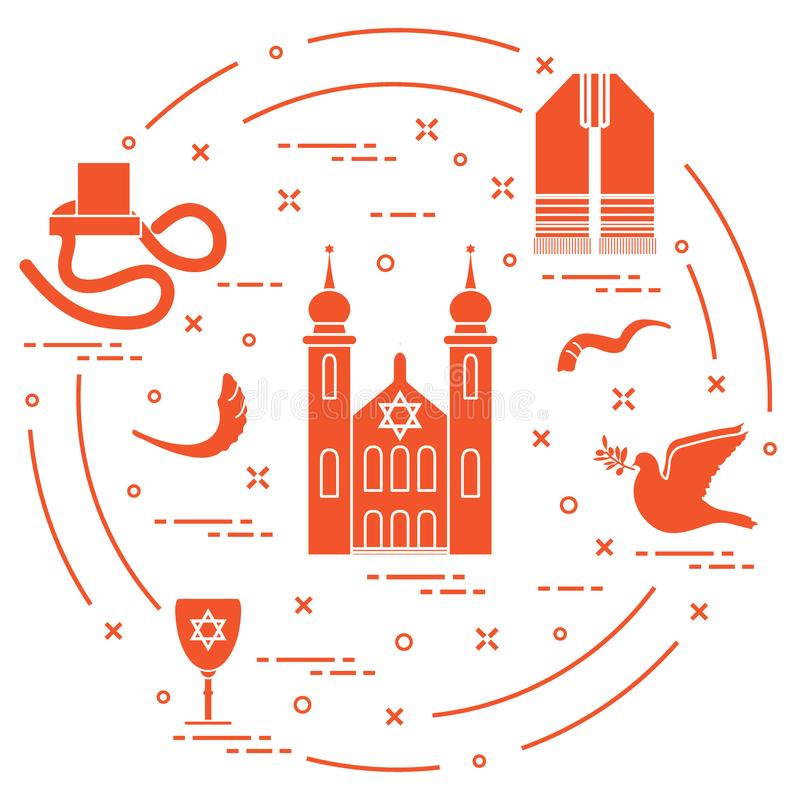 Jewish symbols: tfillin, synagogue, sheep`s horn, dove, david`s star and other. Design for postcard, banner, poster or print. Vector. Jewish symbols: tfillin vector illustration