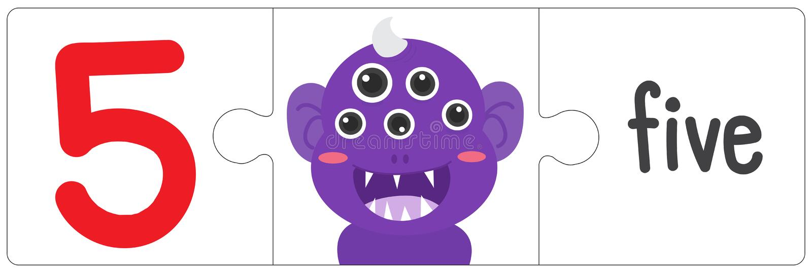 Jigsaw eye monster - five. This vector is about Jigsaw eye monster. use study for kid stock illustration