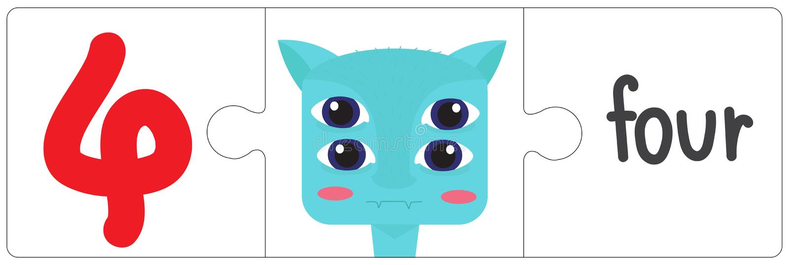 Jigsaw eye monster - four. This vector is about Jigsaw eye monster. use study for kid vector illustration