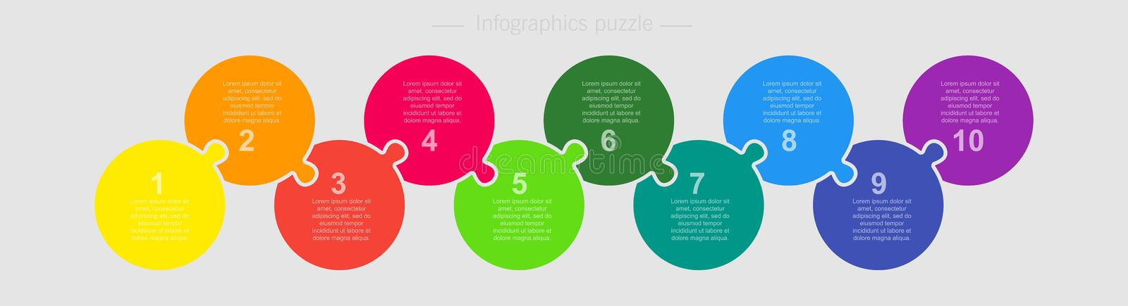 Vector jigsaw puzzle circle info graphic 10 steps royalty free illustration