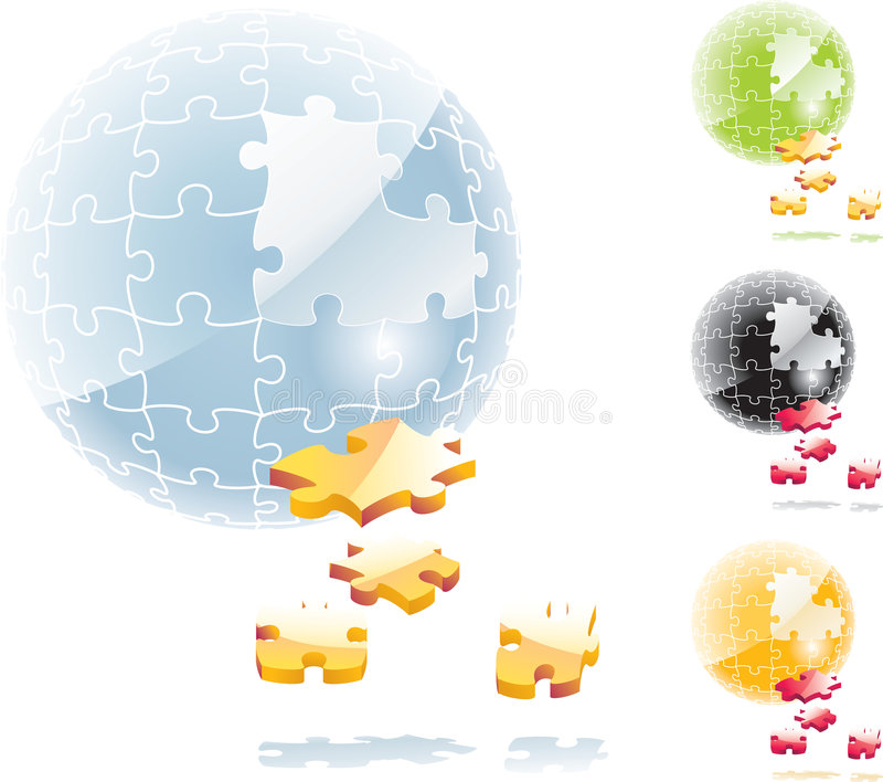 Vector jigsaw puzzle sphere vector illustration