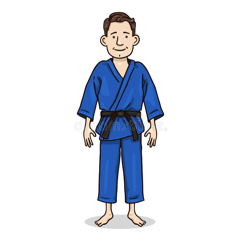 Vector Jonge Mens in Blauwe Kimono Het Karakter van beeldverhaaljudoka vector illustratie