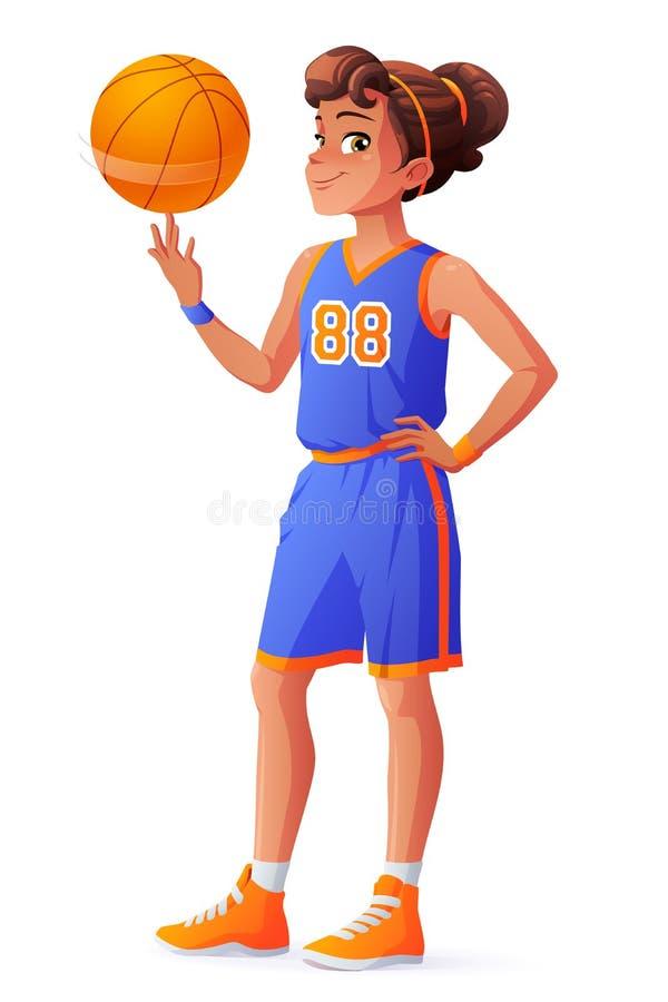 Vector jonge mooie het meisjes spinnende bal van de basketbalspeler op vinger royalty-vrije illustratie