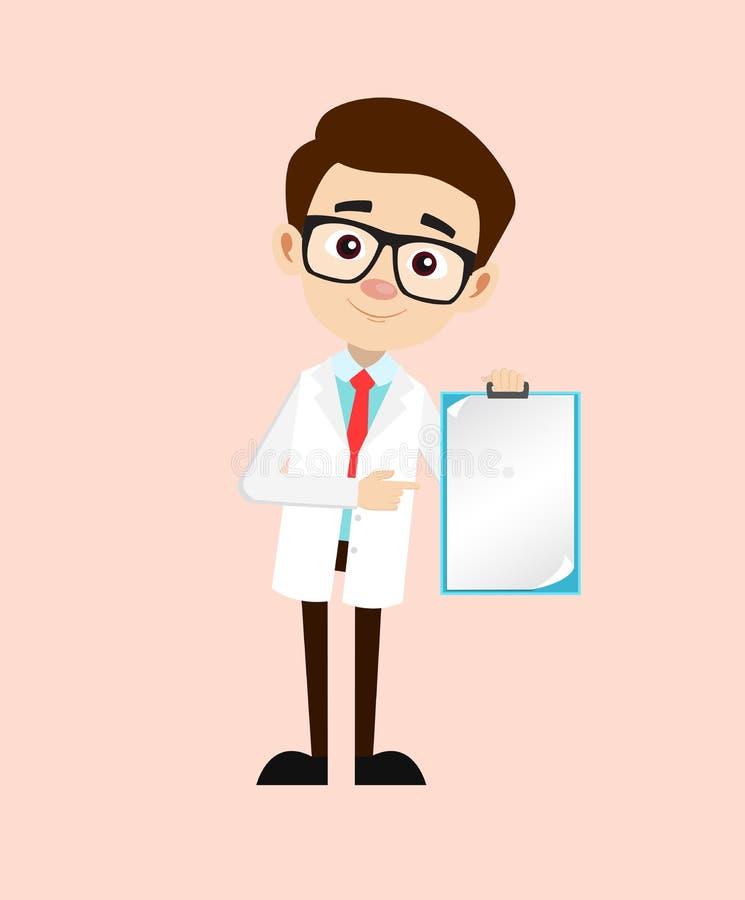 Vector joven de la nota de Showing Blank Paper del ginecólogo stock de ilustración