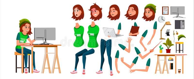 Vector joven del carácter de la mujer de negocios Muchacha femenina adolescente de trabajo Escritorio de Working At Office del ve ilustración del vector