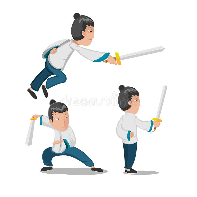 Vector joven del carácter del guerrero del héroe chino ilustración del vector