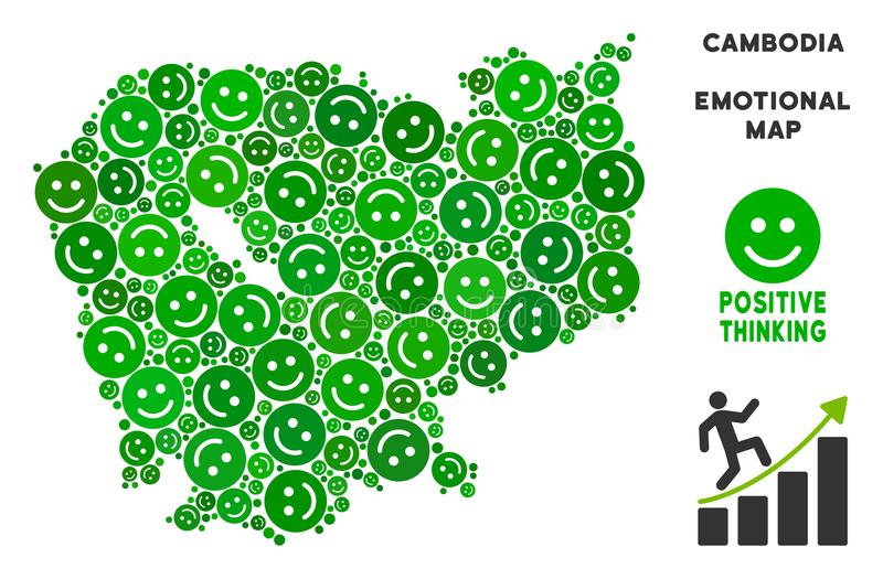 Vector Joy Cambodia Map Collage Of Smiles Stock Vector