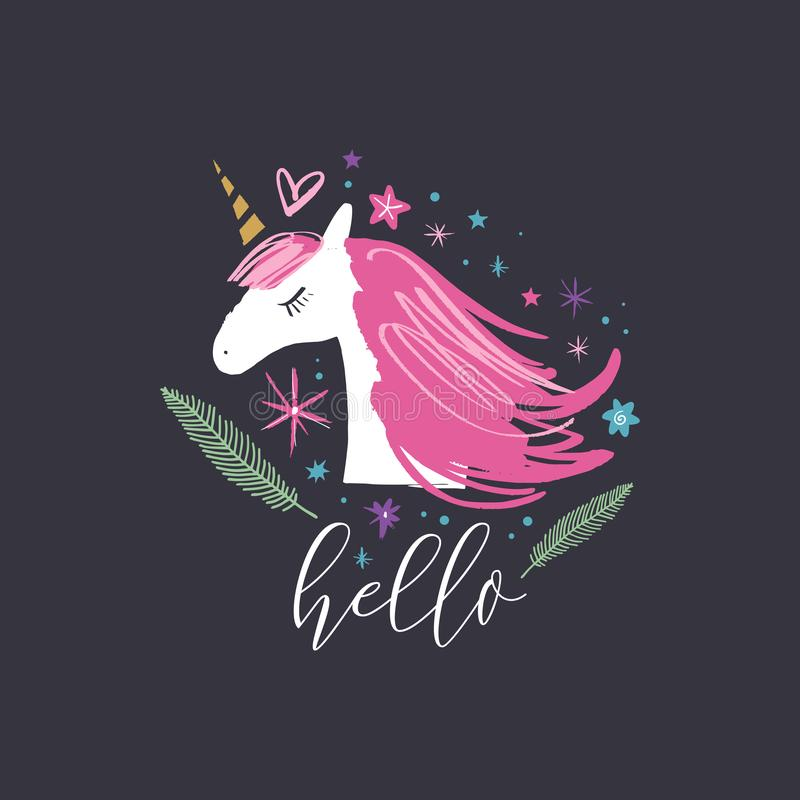 Vector and jpg image, clipart, editable isolated details. Unicorn head cute art, baby stylish illustration. Nursery wallpaper stock illustration