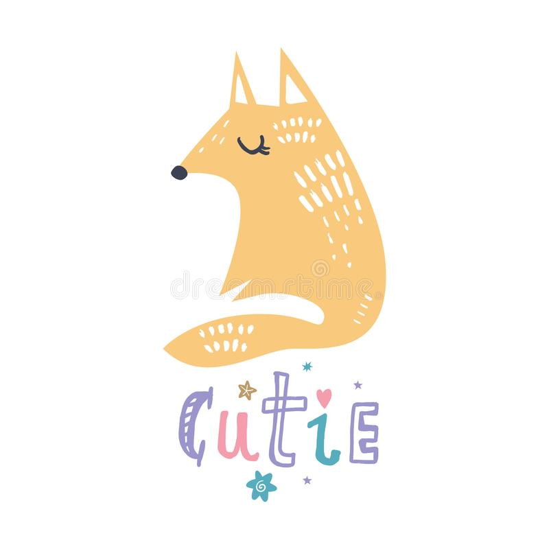 Vector and jpg image, clipart. Little fox baby illustration, unique print for posters, clothes and other vector illustration