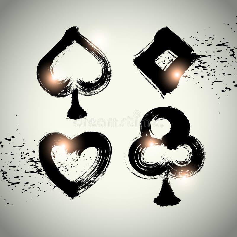 Vector: Jugando la tarjeta del póker adáptese al sistema de símbolo del icono con la técnica de pincel s ilustración del vector