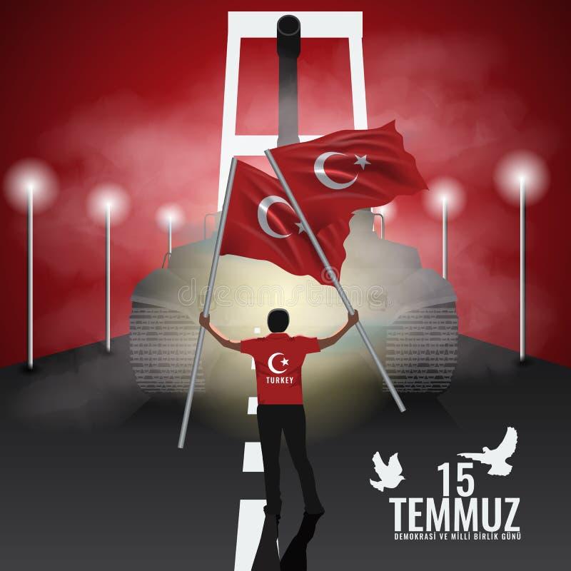 Vector 15 juli Dag Turkije De vertaling van titel in Turks is 15 Juli de Democratie en de Nationale Eenheidsdag van Turkije stock illustratie
