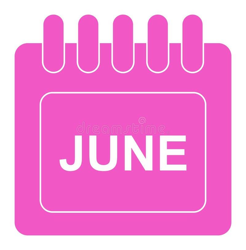 Vector junio en icono mensual del rosa del calendario ilustración del vector