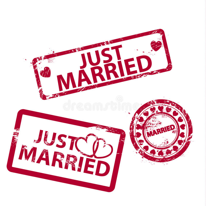 Vector Just Married Stamps Stock Illustration