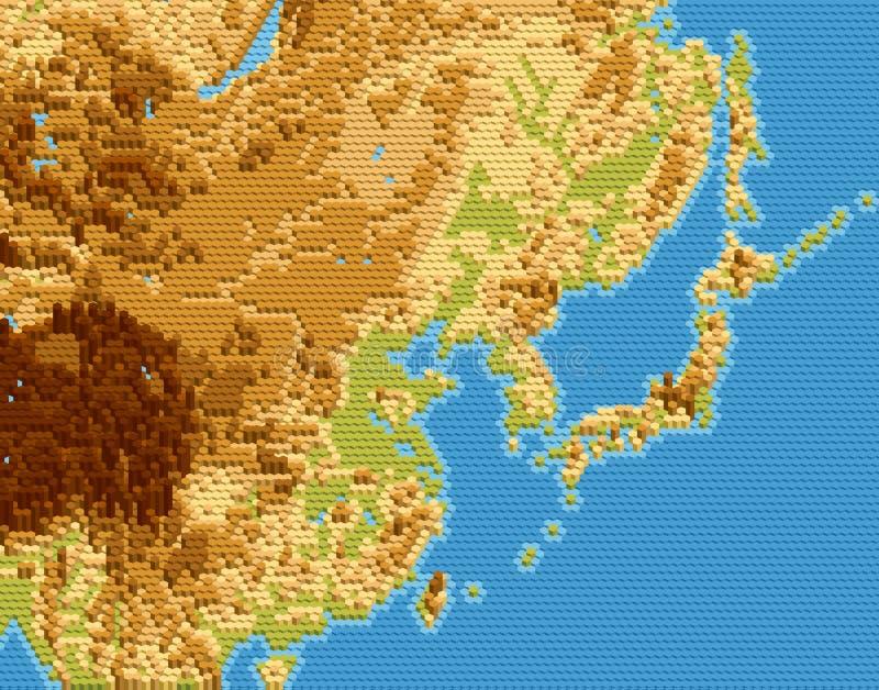 Vector körperliche Karte von Ostasien stilisierte unter Verwendung der prägeartigen Hexagone stock abbildung