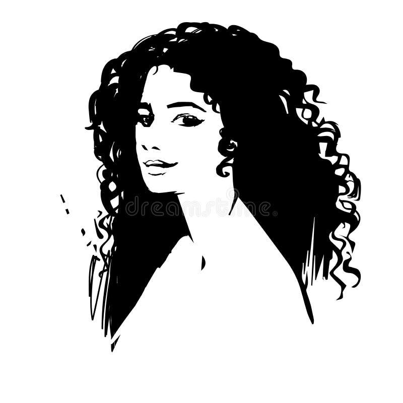 Vector künstlerische Hand gezeichnetes stilvolles Porträt junger Dame, das auf weißem Hintergrund lokalisiert wird Modemädchen, M stock abbildung