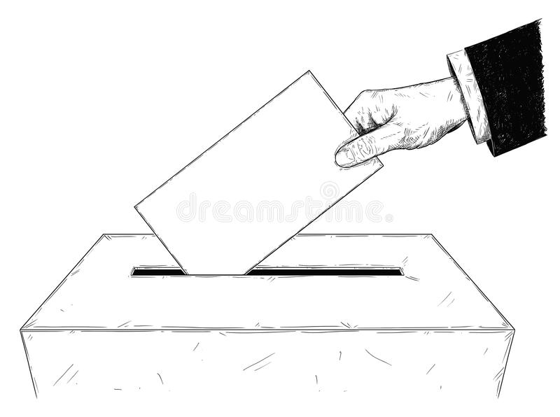 Vector künstlerische Illustration oder Zeichnung von Wähler ` s Hand, die Umschlag in Wahlurne einsetzt lizenzfreie abbildung