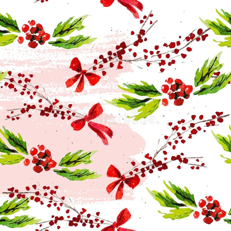 Vector künstlerisches nahtloses Muster für Feiertag der frohen Weihnachten mit Hand gezeichneten Aquarelldekorelementen - Stechpa stock abbildung
