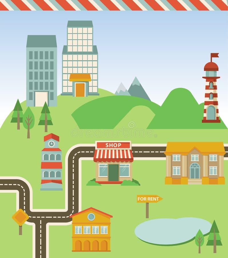 Vector kaart met huizen, weg en tekens vector illustratie