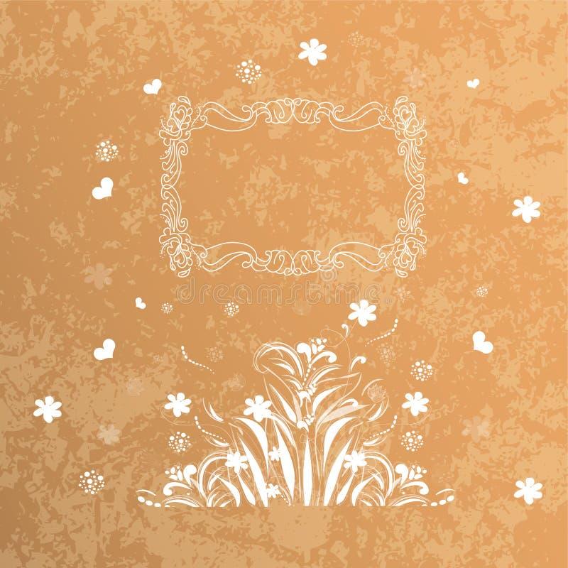 Vector kaart Rond oosters patroon op wijnoogst stock illustratie