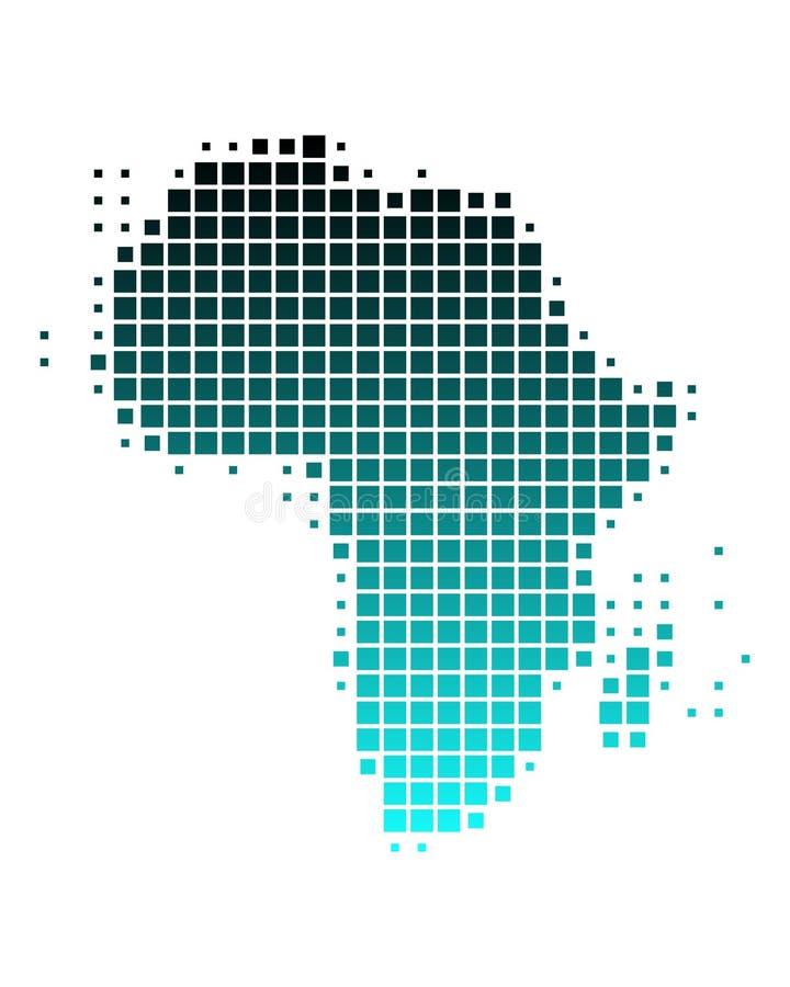 Vector kaart van Afrika in vierkanten stock illustratie