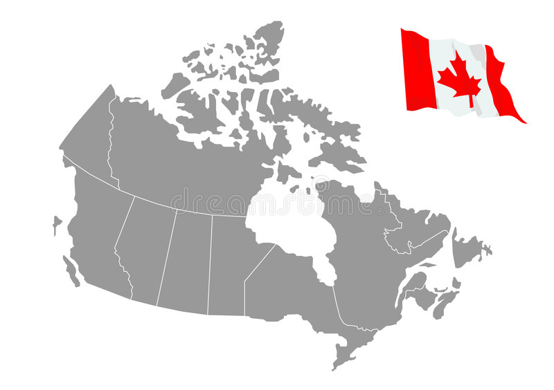 Vector kaart van Canada stock illustratie