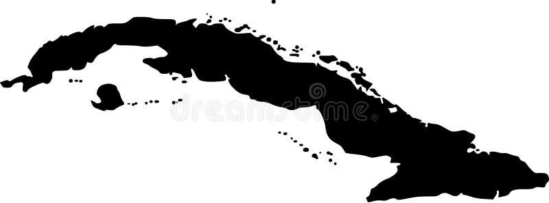 Vector kaart van Cuba stock illustratie