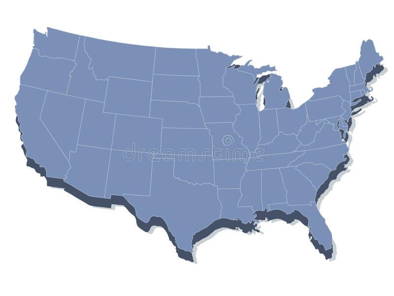 Vector kaart van de Verenigde Staten van Amerika royalty-vrije illustratie