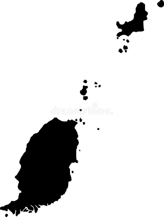 Vector kaart van Grenada royalty-vrije illustratie