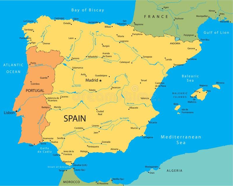 Hoogst Gedetailleerde Kaart Van Spanje Vector Vector Illustratie