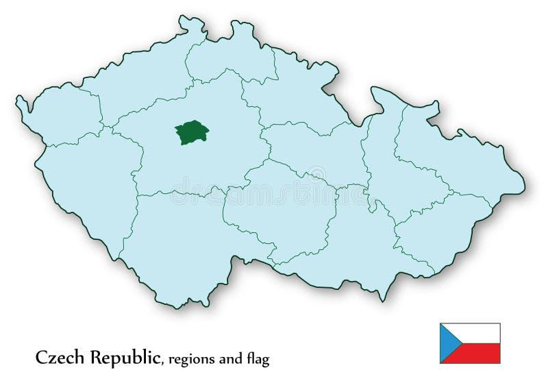 Vector kaart van Tsjechische Republiek en alle gebieden stock illustratie