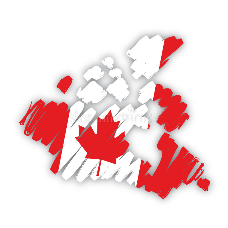 Vector kaart-vlag Canada stock illustratie