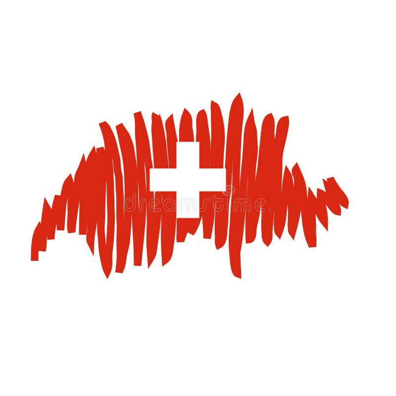 Vector kaart Zwitserland vector illustratie