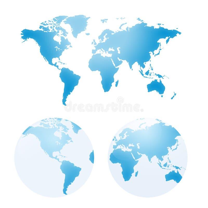 Vector kaarten van aarde royalty-vrije illustratie