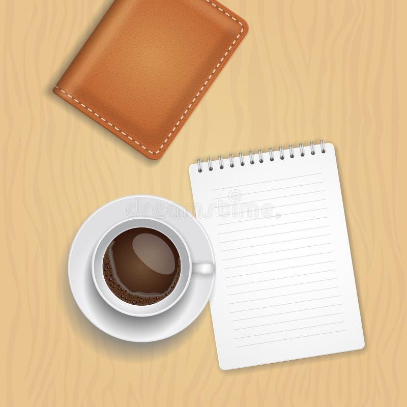 Vector Kaffeetasse und löschen Sie Notizblock auf hölzernem Hintergrund vektor abbildung